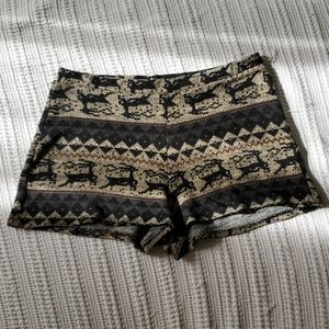 Boho knit reindeer cable knit sweater shorts